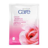 Тканевая маска для лица Avon Care СИЯНИЕ с экстрактом цветков розы