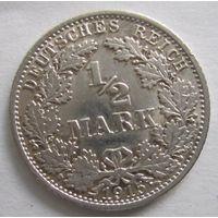 Германия. 1\2 марки 1915 A. Серебро . 104