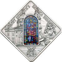 """Палау 10 долларов 2014г. Витраж: """"Базилика Святого Стефана"""". Монета в капсуле; подарочном футляре; номерной сертификат; коробка. СЕРЕБРО 50гр."""