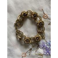 Винтажный браслет золотые розы