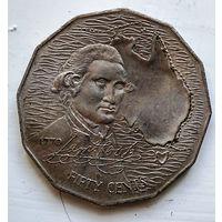 Австралия 50 центов, 1970 200 лет австралийскому путешествию капитана Кука 3-7-15