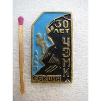 Знак. 30 лет ЧЭМК (Челябинский электрометаллургический комбинат). Альп секция (тяжёлый)