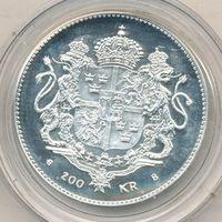 Швеция 200 крон 1996 50 лет Карлу XVI Тираж 49 тысяч