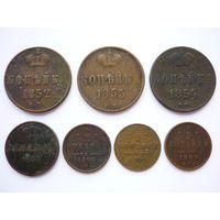 С 1 рубля без М.Ц.! Монеты Росс. Империи периода 1852-1909гг. номиналом 1 копейка, денежка, 1/2 копейки! 7 монет. Медь.