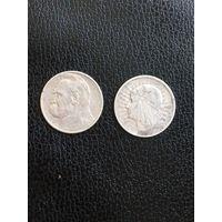2 злотых 1934 Пилсудский и 2 злотых 1933 Ядвига Отличный лот. С 1 рубля!
