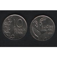Финляндия km65 10 пенни 1991 год (M) (f32)(b04)n*