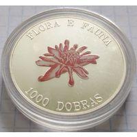 Сан Томе и Принсипи 1000 добр 1995 Чайная роза, 31,4 гр. (25 гр. чистого серебра), 15 000 шт, Пруф, сертификат, капсула, футляр!
