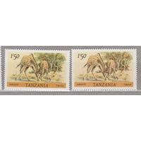 Жирафы фауна Танзания 1980 год лот 1062 ЧИСТАЯ ДВА РАЗНЫХ ОТТЕНКА