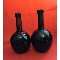 Бутылки СТАРИННЫЕ толстостенные темно-зеленое стекло 19 век, вес 760 и 800 грамм Цена за единицу