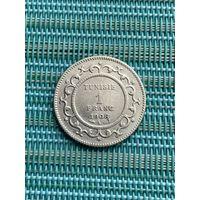 Тунис 1 франк 1908  г.