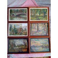 Картины гуашью, рамки со стеклом 26 шт с 1 рубля.