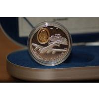 Канада 20 долларов 1990 История авиации Ланкастер. Серебро + позолота Пруф в капсуле