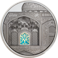 "RARE Палау 25 долларов 2020г. Тиффани ""Tiffany Art: Исфахан Black Proof"". Монета в капсуле; подарочном футляре; сертификат; коробка. СЕРЕБРО 155,50гр.(5 oz)."