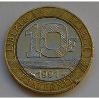 Франция, 10 франков 1991 г.