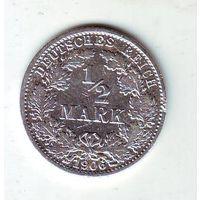 Германия. 1/2 марки 1906 г. (серебро)