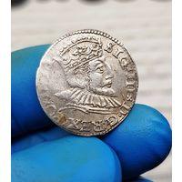 Монета Сигизмунд III серебро Польша Рига 1592 3 Гроша С 1 Рубля без МЦ