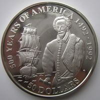 Острова Кука. 50 долларов 1990. Серебро. Пруф. 189