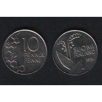 Финляндия km65 10 пенни 1991 год (M) (f34)
