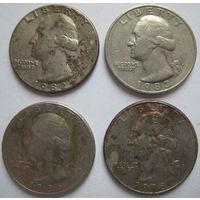 США 25 центов 1982, 1983, 1986, 1998 гг.. Цена за 1 шт.