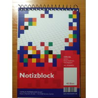 Блокнот на гребне/пружинке формата А6 на 40 листов в клетку (Notizblock DIN A6, 40 Blatt)