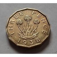 3 пенса, Великобритания 1938 г.