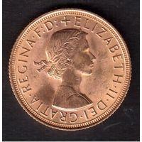 Англия. Золото. Елизавета II. 1 соверен 1958 года. Состояние!