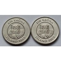 Исландия 1 крона, 1989 г.