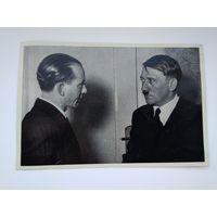 Открытка-вкладыш. А. Гитлер и имперский руководитель печати О. Дитрих, III рейх, оригинал. ТОРГИ! С 1 РУБЛЯ!