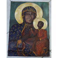"""Икона на холсте маслом """"Ченстоховская . Размер 39-69 см."""