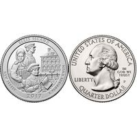 25 центов США 2017 Монумент острова Эллис Ellis Island Р