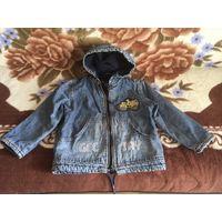 Куртка джинсовая на флисовой подкладке р. 110-116