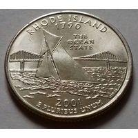 25 центов, квотер США, штат Род-Айленд, P D