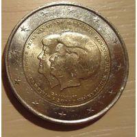 РАСПРОДАЖА ВСЕГО!!! Юбилейная памятная монета 2 Евро. Объявление королевы Беатрикс о передаче трона наследному принцу Виллему-Александру