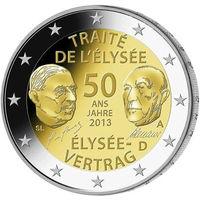 2 евро 2013 Германия G 50 лет подписания Елисейского договора UNC из ролла