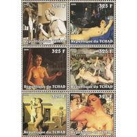Чад  2002 картины серия 6 марок  \