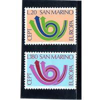 Сан-Марино.  Ми-1029, 1030. Европа.С.Е.Р.Т. Почтовый рожок.1973.
