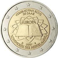 2 евро 2007 Нидерланды 50-летие подписания Римского договора UNC  из ролла