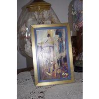 Картина винтажная, масло на картоне, Франция