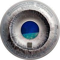 """Острова Кука 20 долларов 2019г.  """"Кратер Чиксулуб. Метеорит Альенде"""". Монета в капсуле, подарочном футляре; номерной сертификат; коробка. СЕРЕБРО 93,311гр.(3 oz)."""
