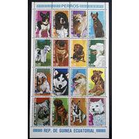 Экваториальная Гвинея 1977 г. Собаки. Фауна, полная серия из 16 марок, сцепка #0165-Ф1