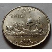 25 центов, квотер США, штат Вирджиния, P D