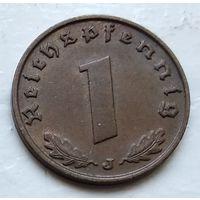 """Германия - Третий рейх 1 рейхспфенниг, 1938  """"J"""" - Гамбург 4-10-14"""