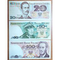 Набор банкнот Польши - 20,50,100 злотых - UNC