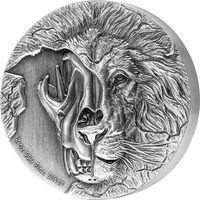 """RARE Ниуэ 5 долларов 2018г. """"Череп азиатского льва"""". Монета в капсуле; подарочном футляре; номерной сертификат + номер на гурте; коробка. СЕРЕБРО 62,27гр.(2 oz)."""