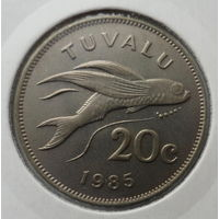 """Тувалу 20 центов 1985 """"Летучая рыба"""""""