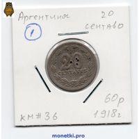 Аргентина 20 сентаво 1918 года -1