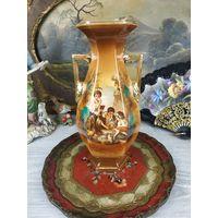 Красивая большая ваза Фарфор Клеймо Роспись