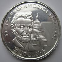 Острова Кука. 50 долларов 1990. Серебро. Пруф. 193