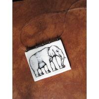 Подвеска ручной работы со слоном на силиконовом шнуре