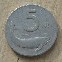 Италия 1954 год 5 лир R